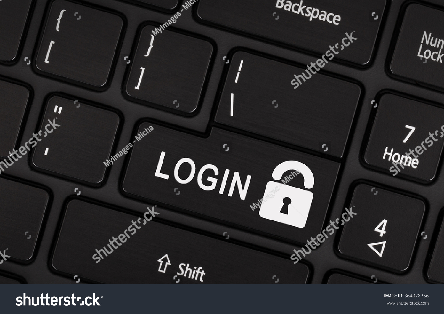 Black Login Button On Modern Laptop Keyboard Stock Photo ...