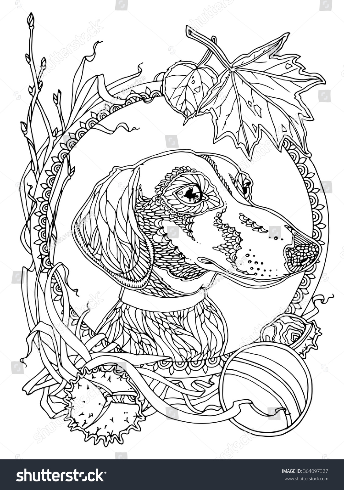Uncategorized Dachshund Coloring Page dachshund autumn elements coloring page adults stock vector with for antistress coloring