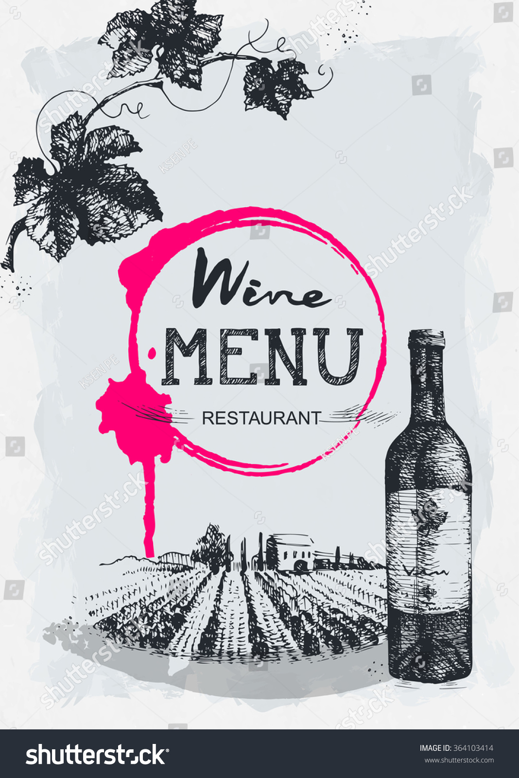 Wine menu restaurant brochure design stock vector