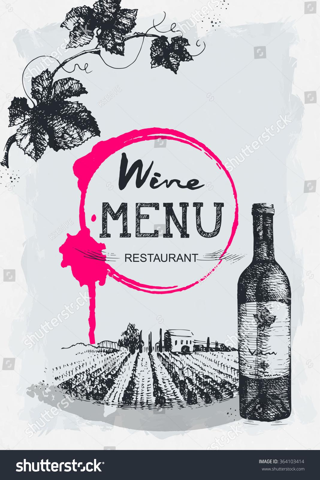 wine brochure template - wine menu restaurant brochure wine design stock vector