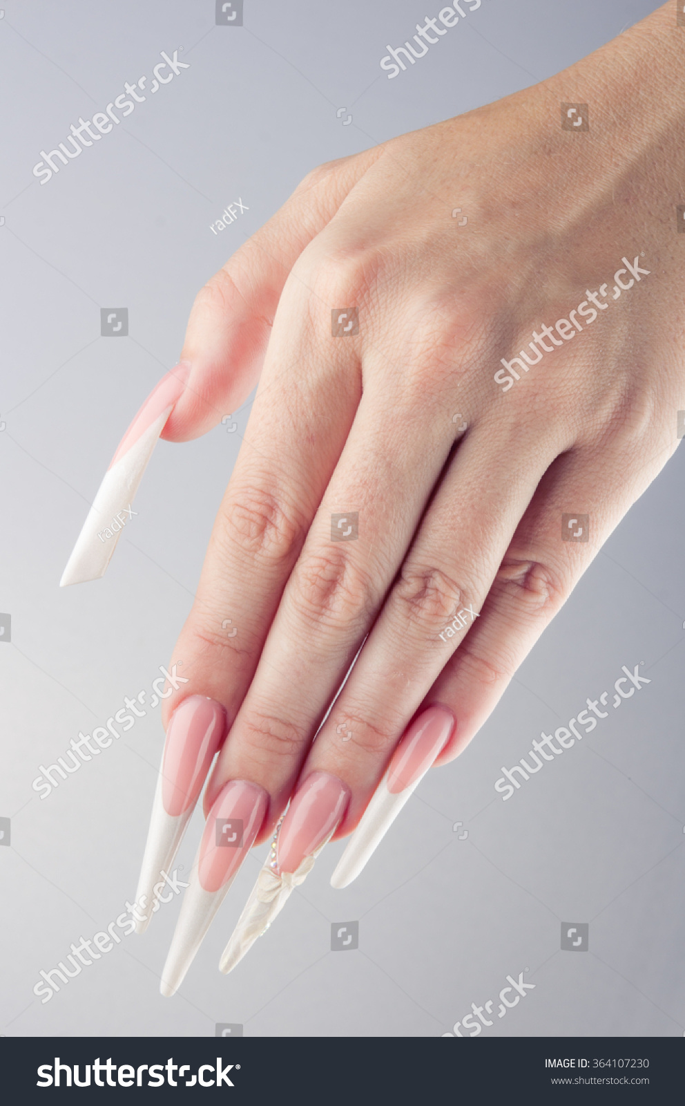 Painted Simple Extreme Long Nails Hands Stock Photo 364107230 ...