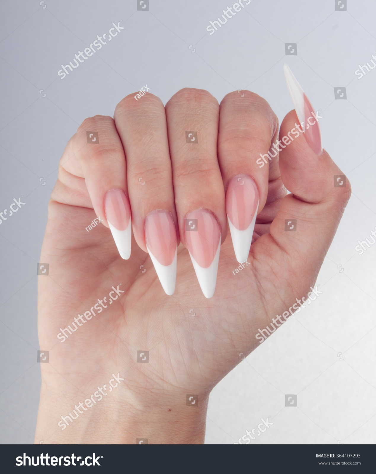 Painted Simple Extreme Long Nails Hands Stock Photo (Royalty Free ...