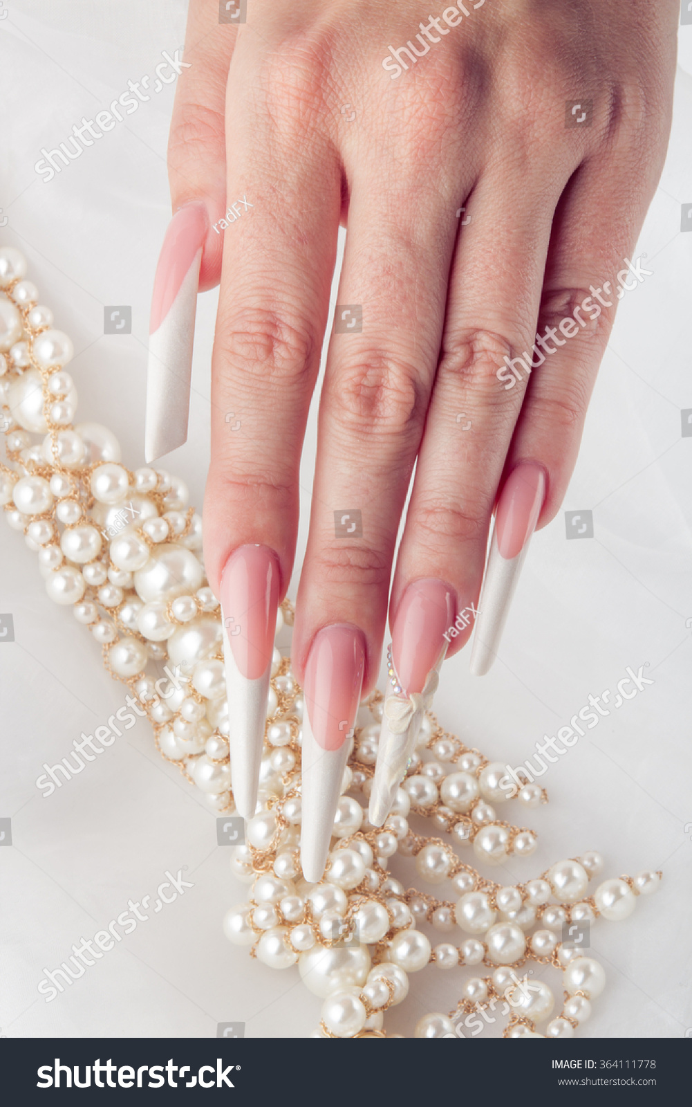 Painted Simple Extreme Long Nails Hands Stock Photo 364111778 ...
