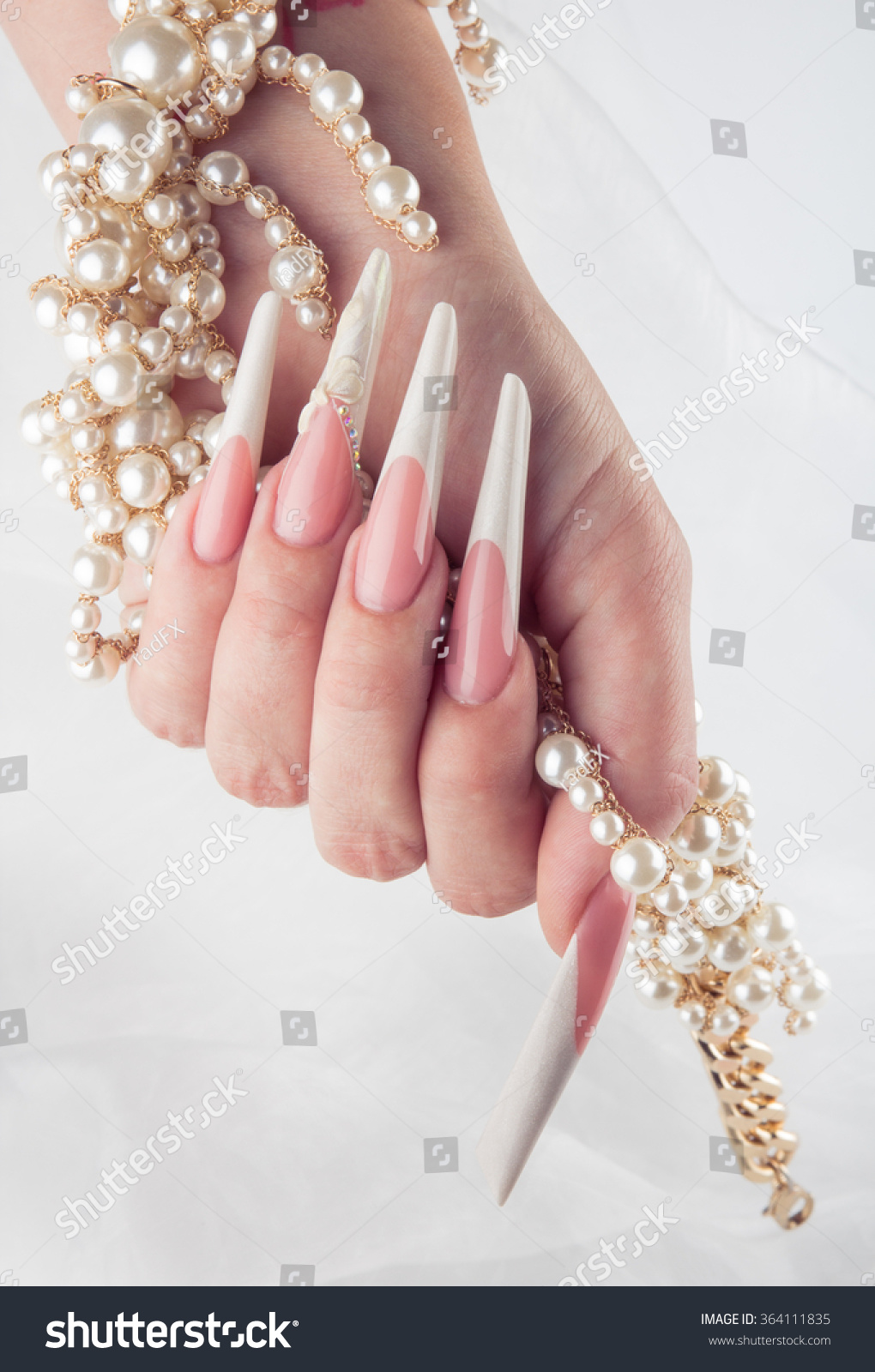Painted Simple Extreme Long Nails Hands Stock Photo & Image (Royalty ...