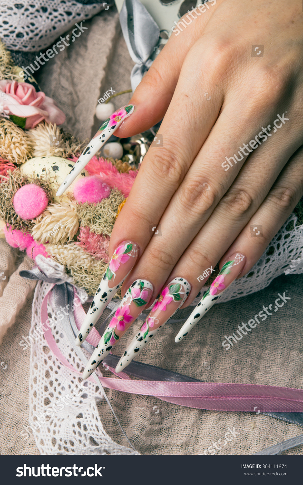 Refined Painted Long Nails Hands Flower Stock Photo 364111874 ...