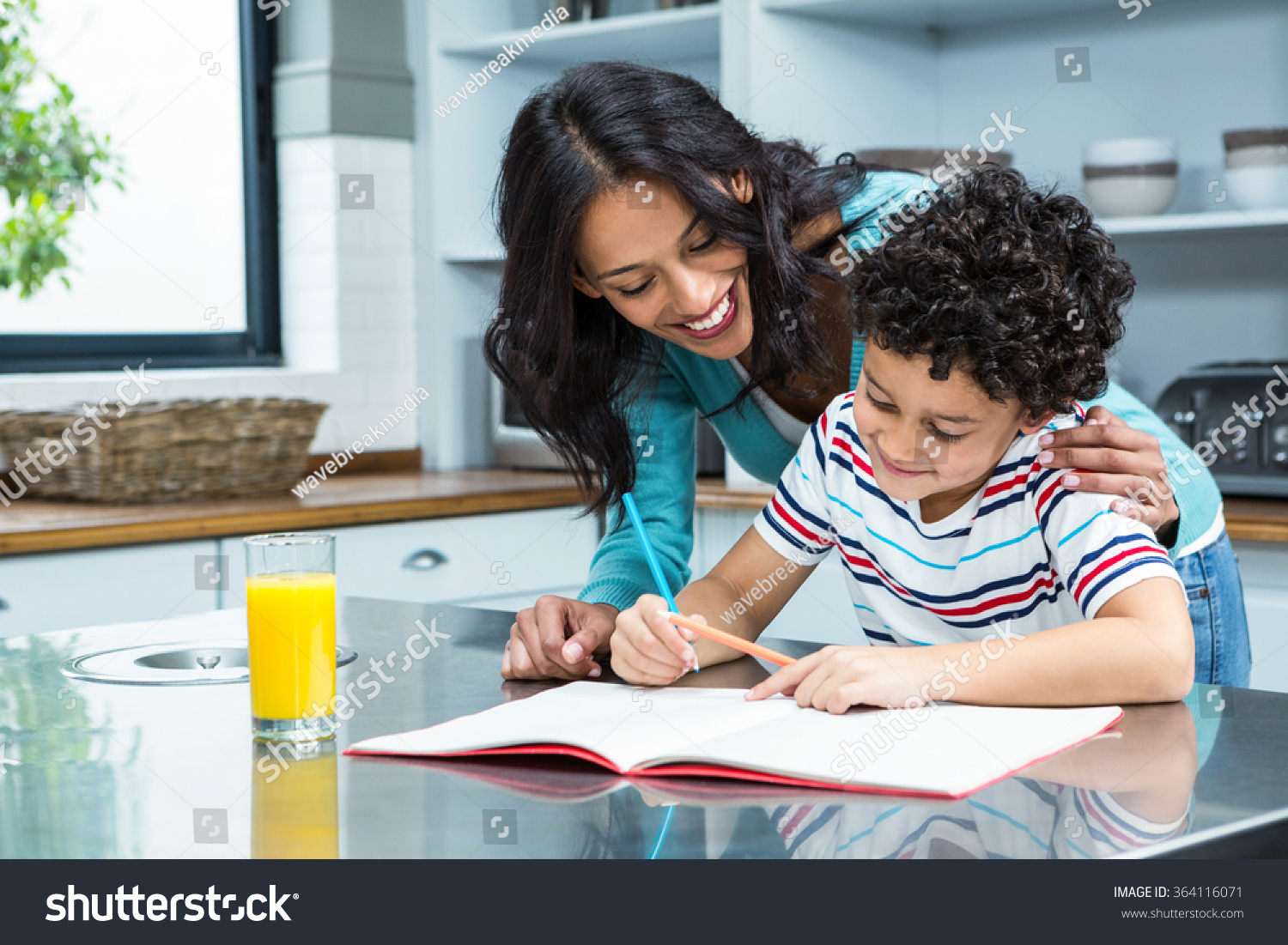 Kind Mother Helping Her Son Doing Stock Photo (Edit Now) 364116071 ...