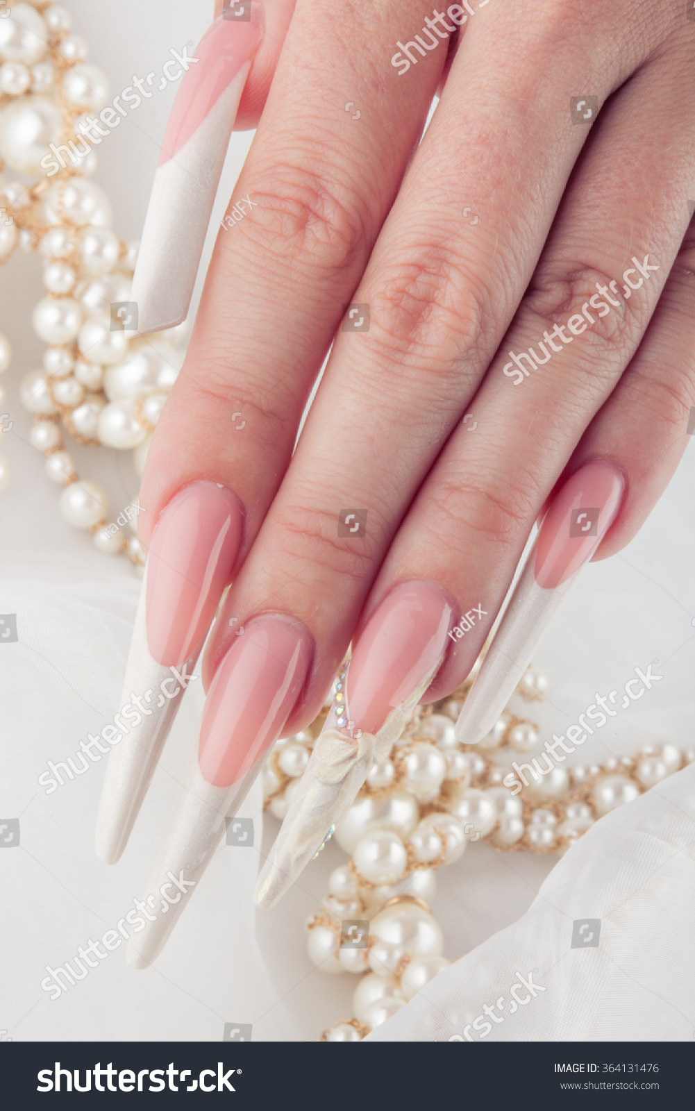 Painted Simple Extreme Long Nails Hands Stock Photo 364131476 ...