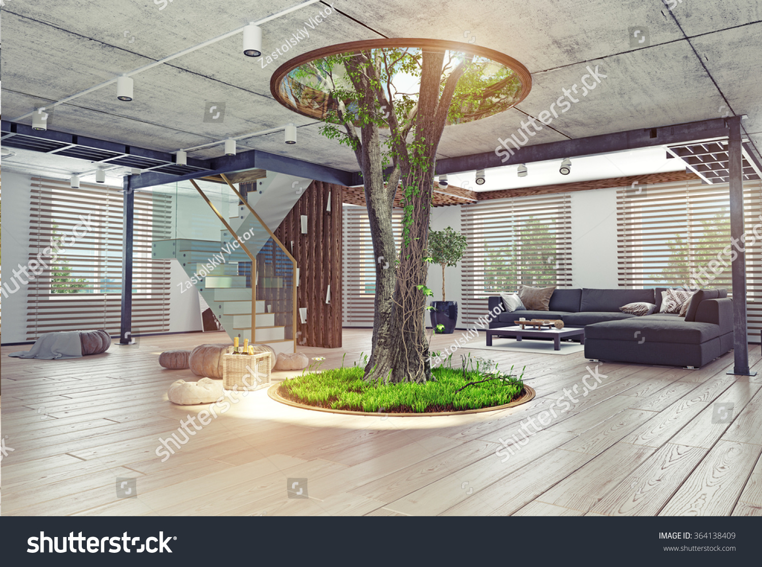 Eco Design Modern Interior Real Living Stock Illustration 364138409 ...