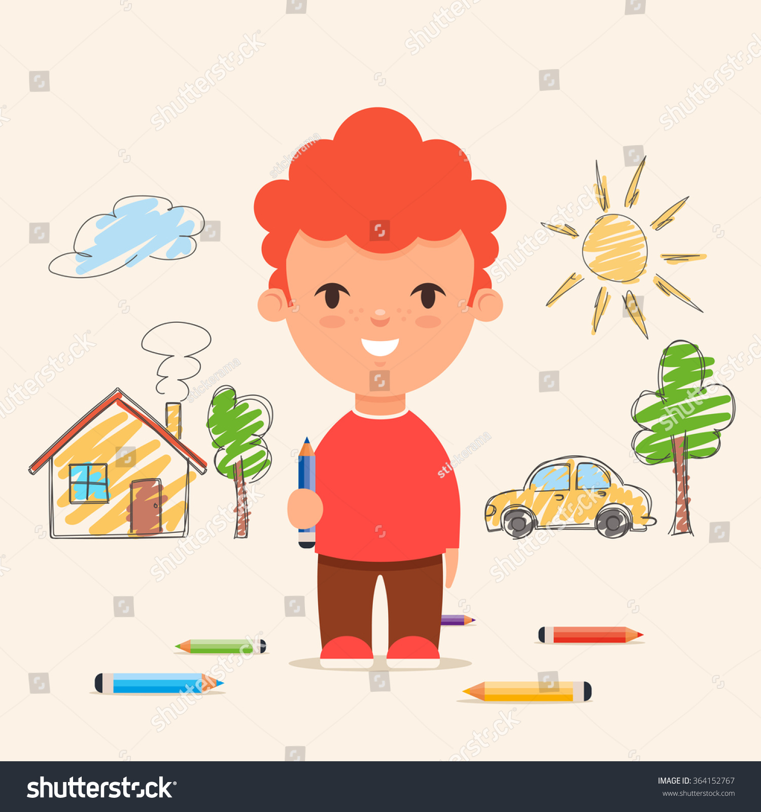 cute cartoon kid drawing house car and trees on the wall colorful vector illustration
