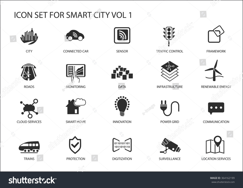 Скачать Eco Technology Flat Icons: Smart City Vector Icons Symbols Flat Stock Vector