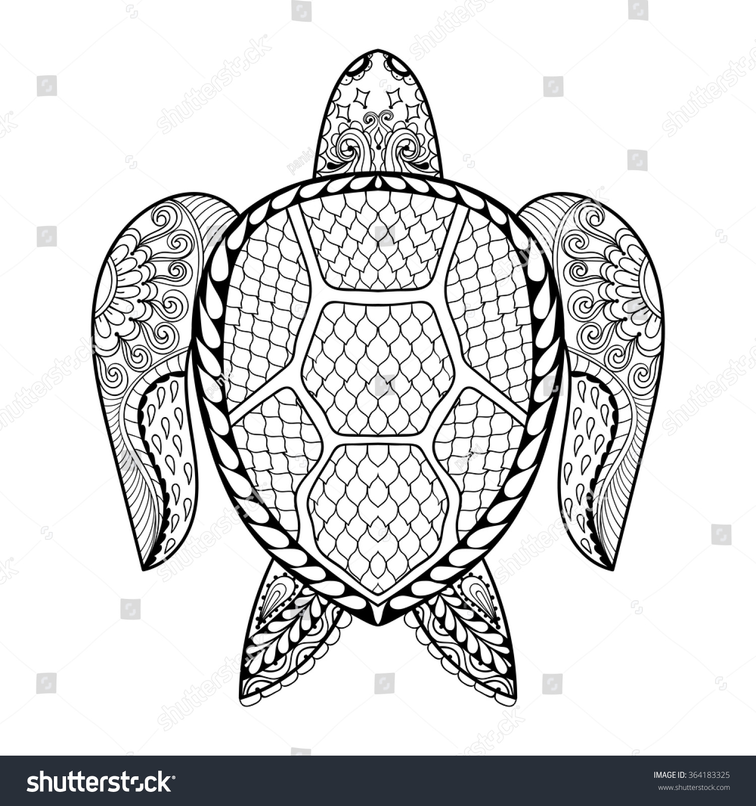 Hand drawn sea turtle mascot adult stock vector 364183325 for Sea turtles coloring pages