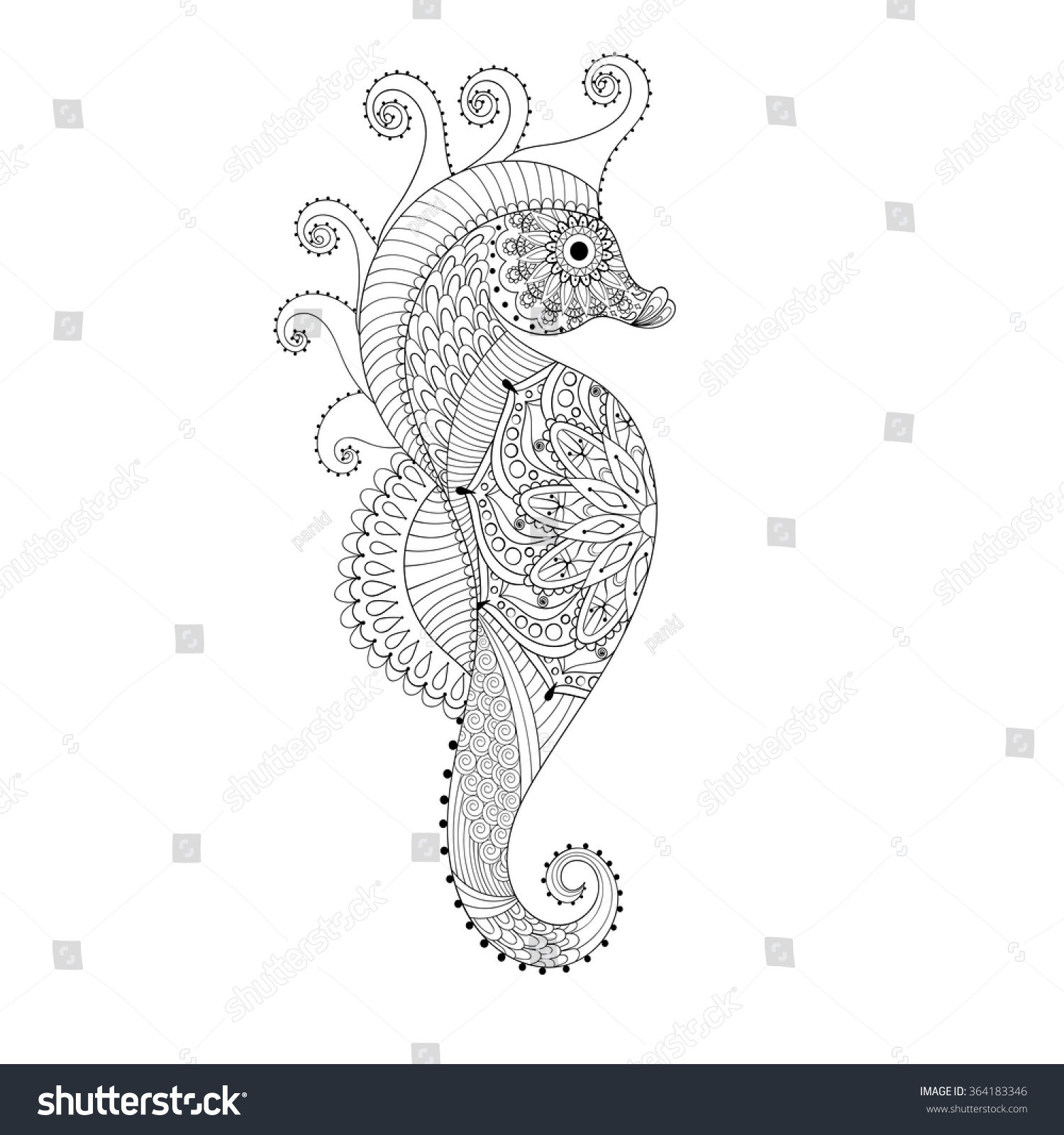 Zen colouring book animals - Sea Horse Hand Drawn Sea Horse Adult Coloring Pages Doodle Zentangle Sea