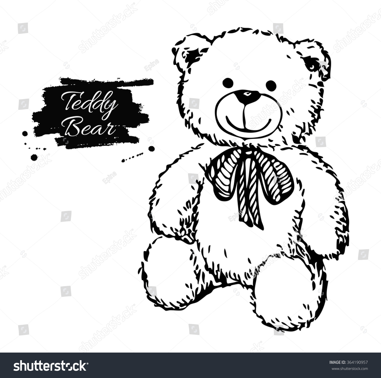 Vector Hand Drawn Teddy Bear Illustration 364190957