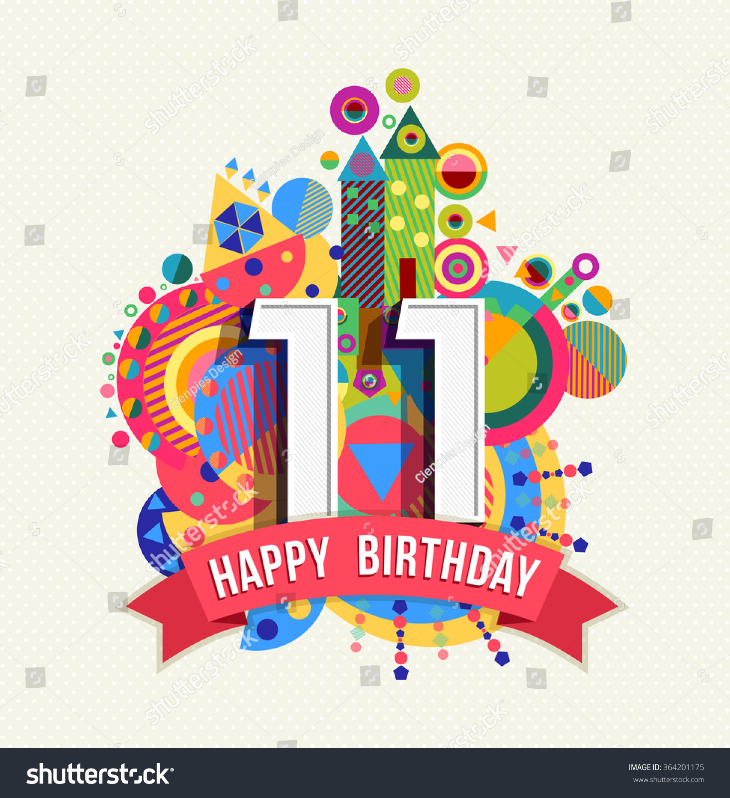 Happy Birthday Eleven 11 Year Fun Celebration Greeting Card With Number Text Label And