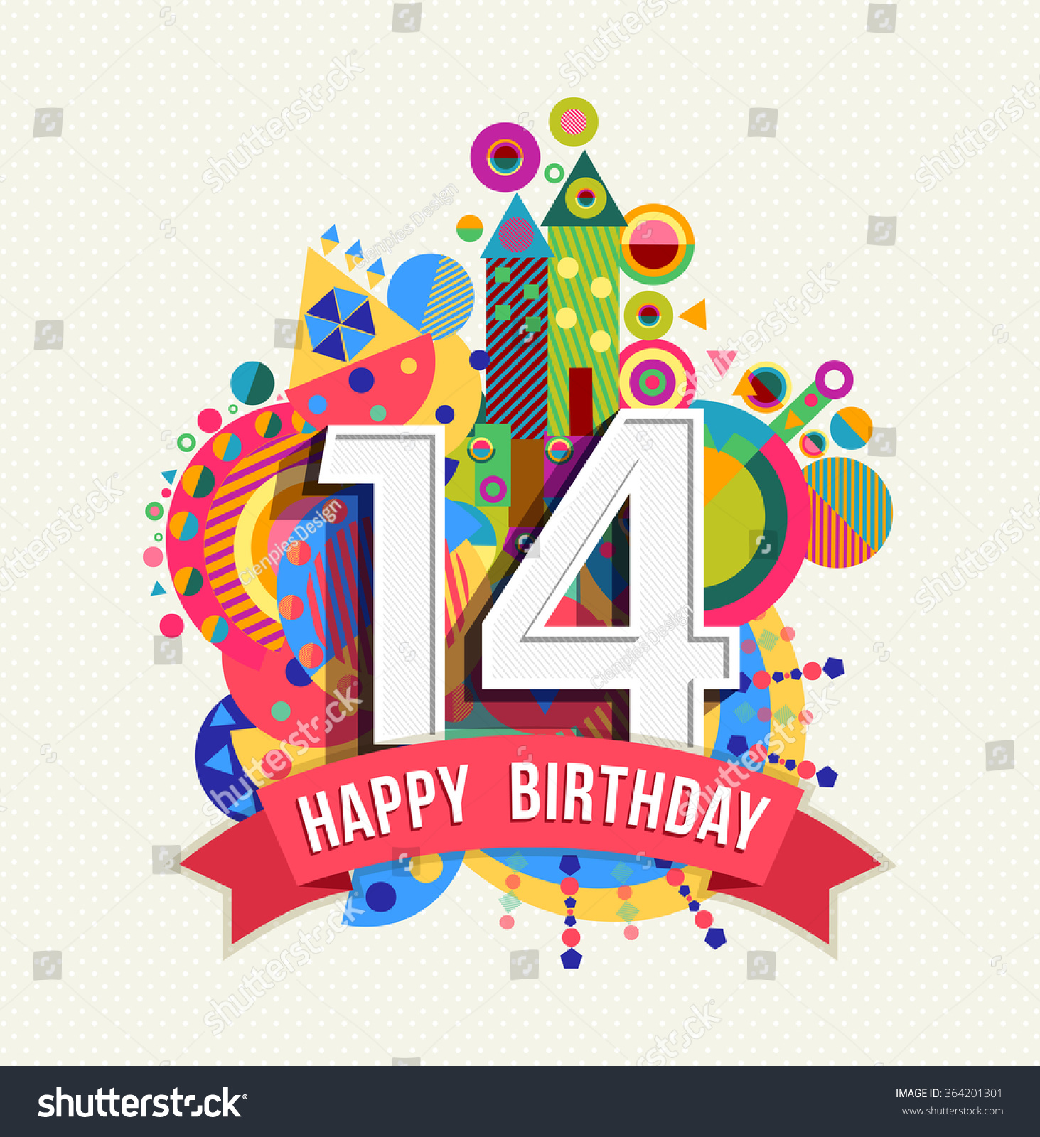Happy Birthday Fourteen 14 Year Fun Stock Vector 364201301