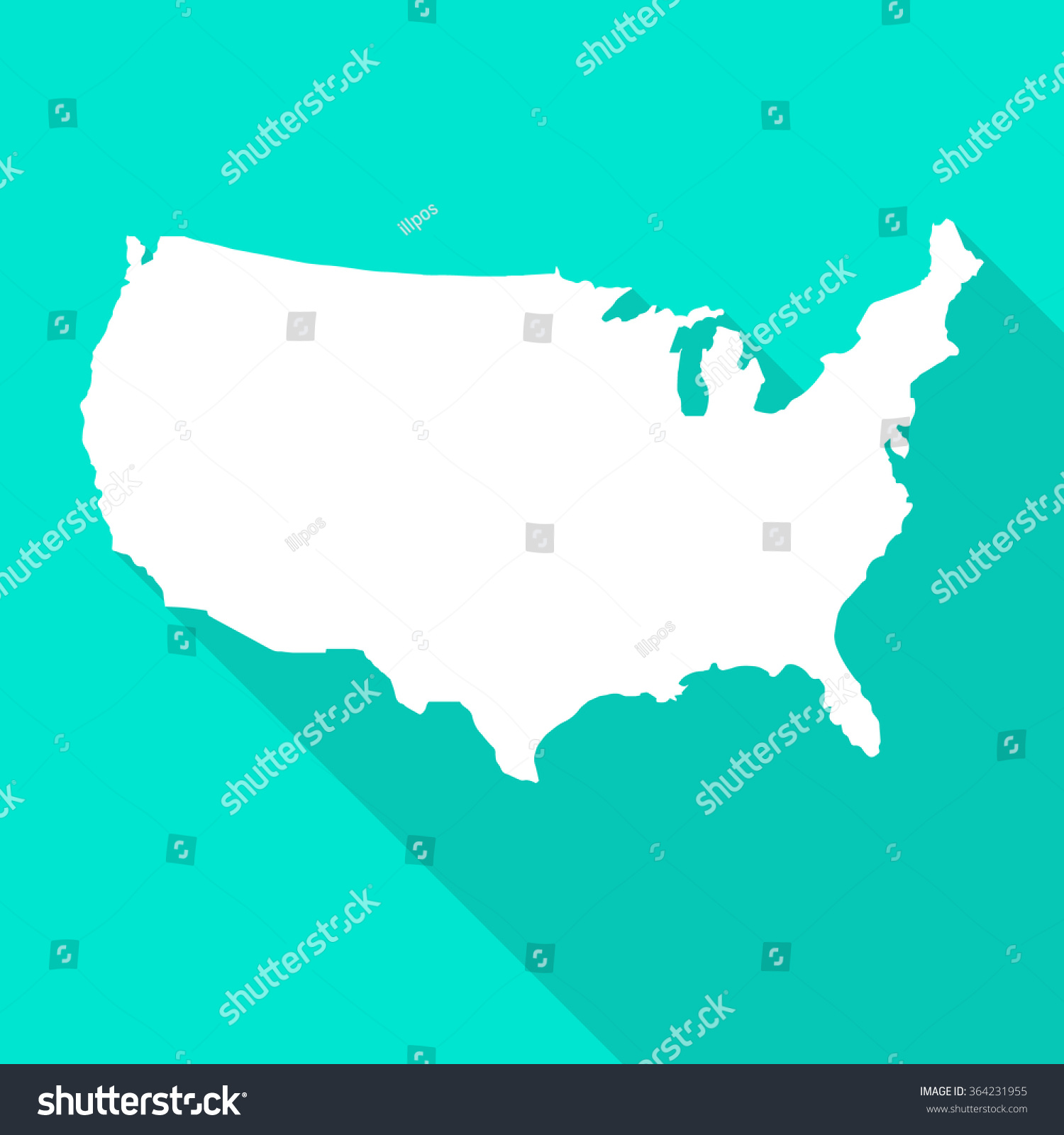 United States Americausa White Mapborder Flat Stock Vector - Simplue us map states