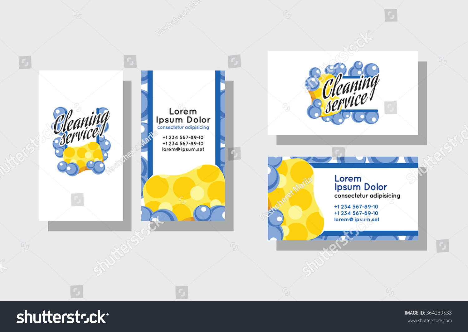 Set Business Cards Cleaning Service Stock Vector 364239533 ...
