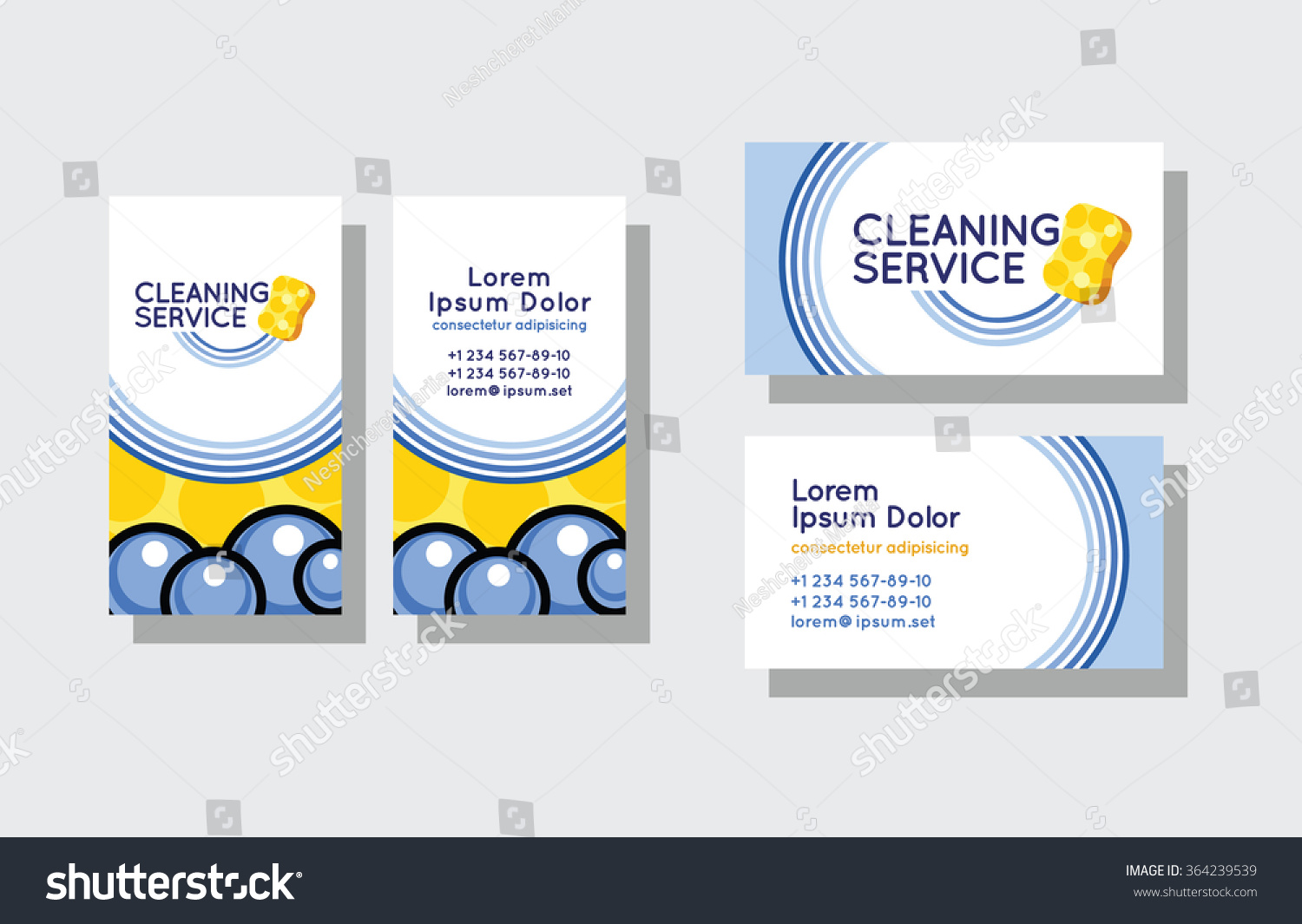 Set Business Cards Cleaning Service Stock Photo (Photo, Vector ...