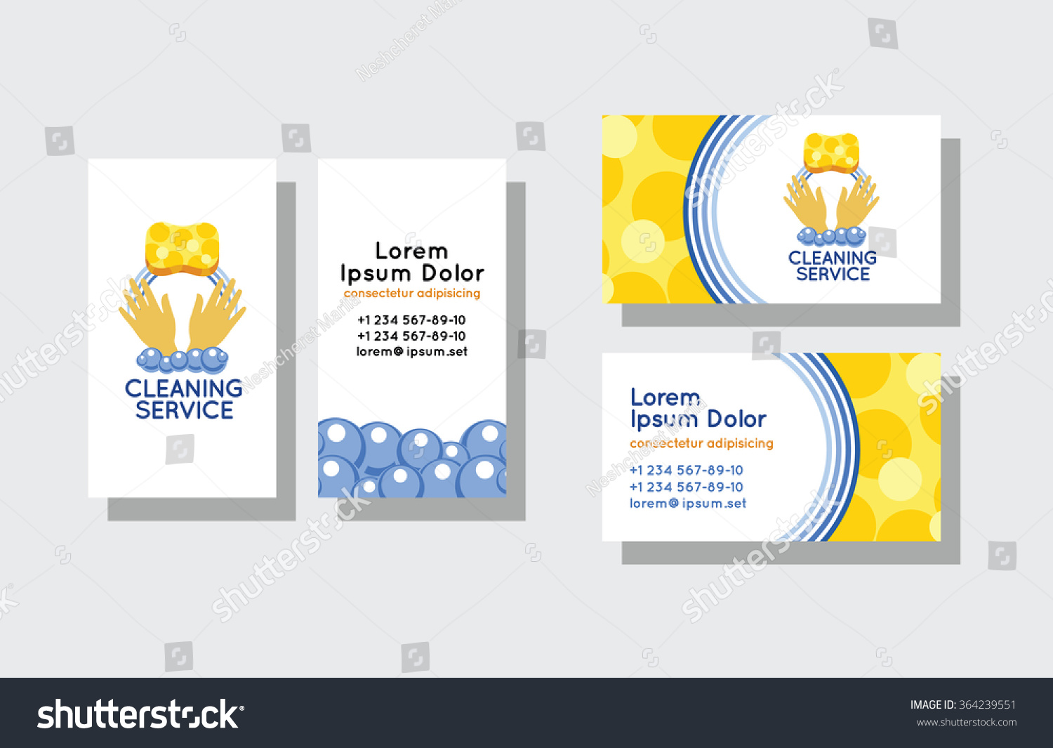 Set Business Cards Cleaning Service Stock Vector (2018) 364239551 ...