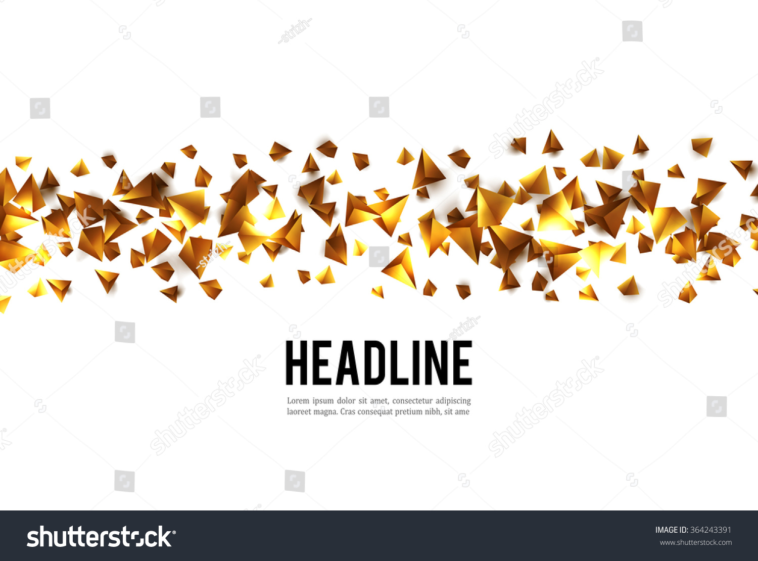 Abstract 3d Chaotic Particles Gold Scifi Stock Vector 364243391 ...