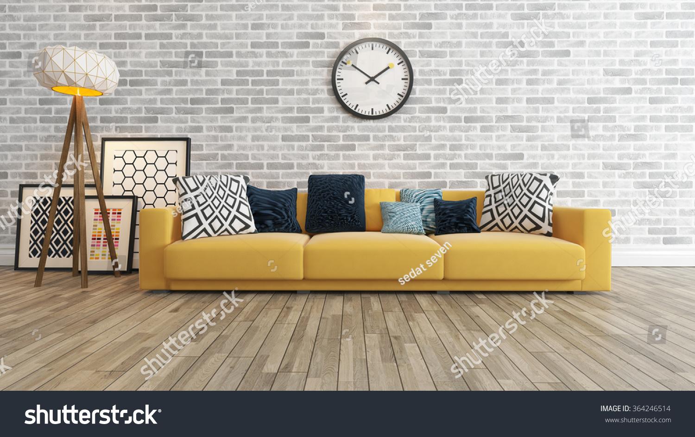 living room saloon interior design big stock illustration