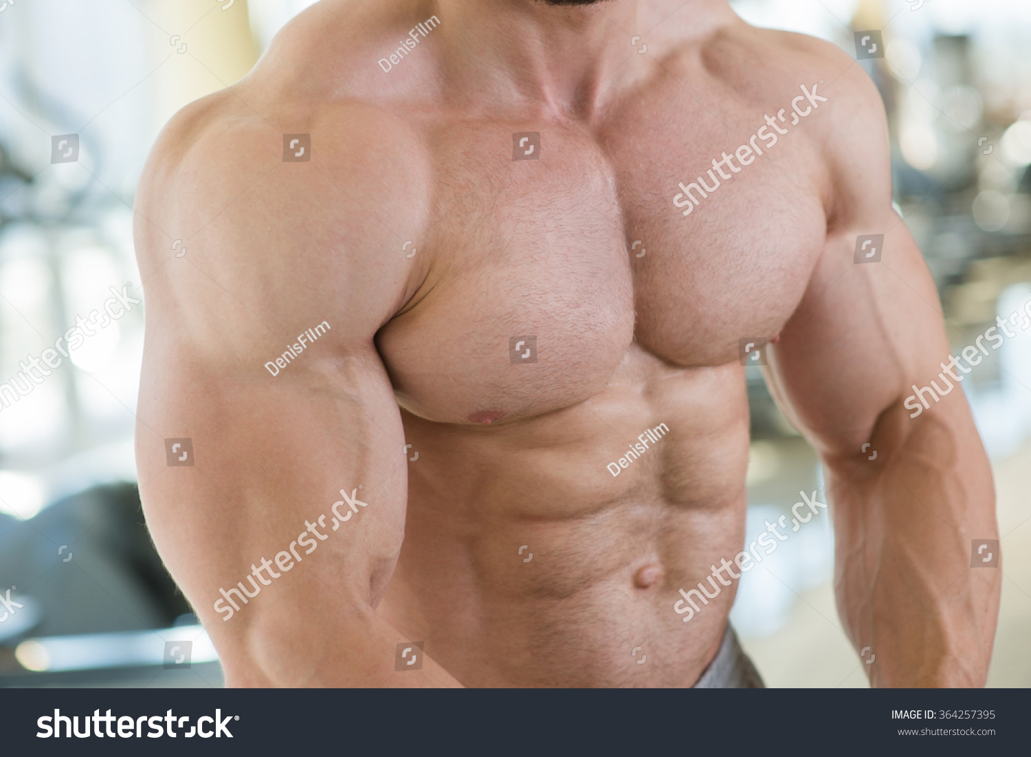 Muscular Torso Arms Bodybuilder Huge Muscles Stock Photo (Safe to ...