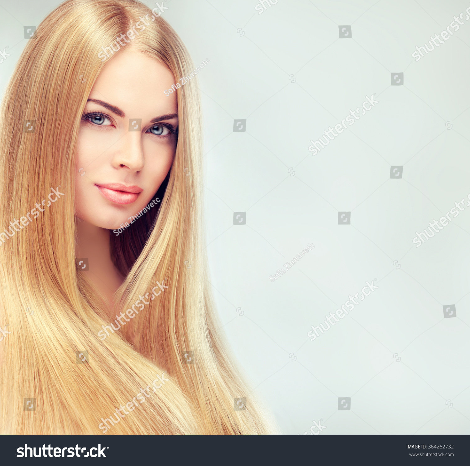 Beautiful Blonde Woman With Long Healthy Straight And Shiny Hair Hairstyle Loose Hair Stock
