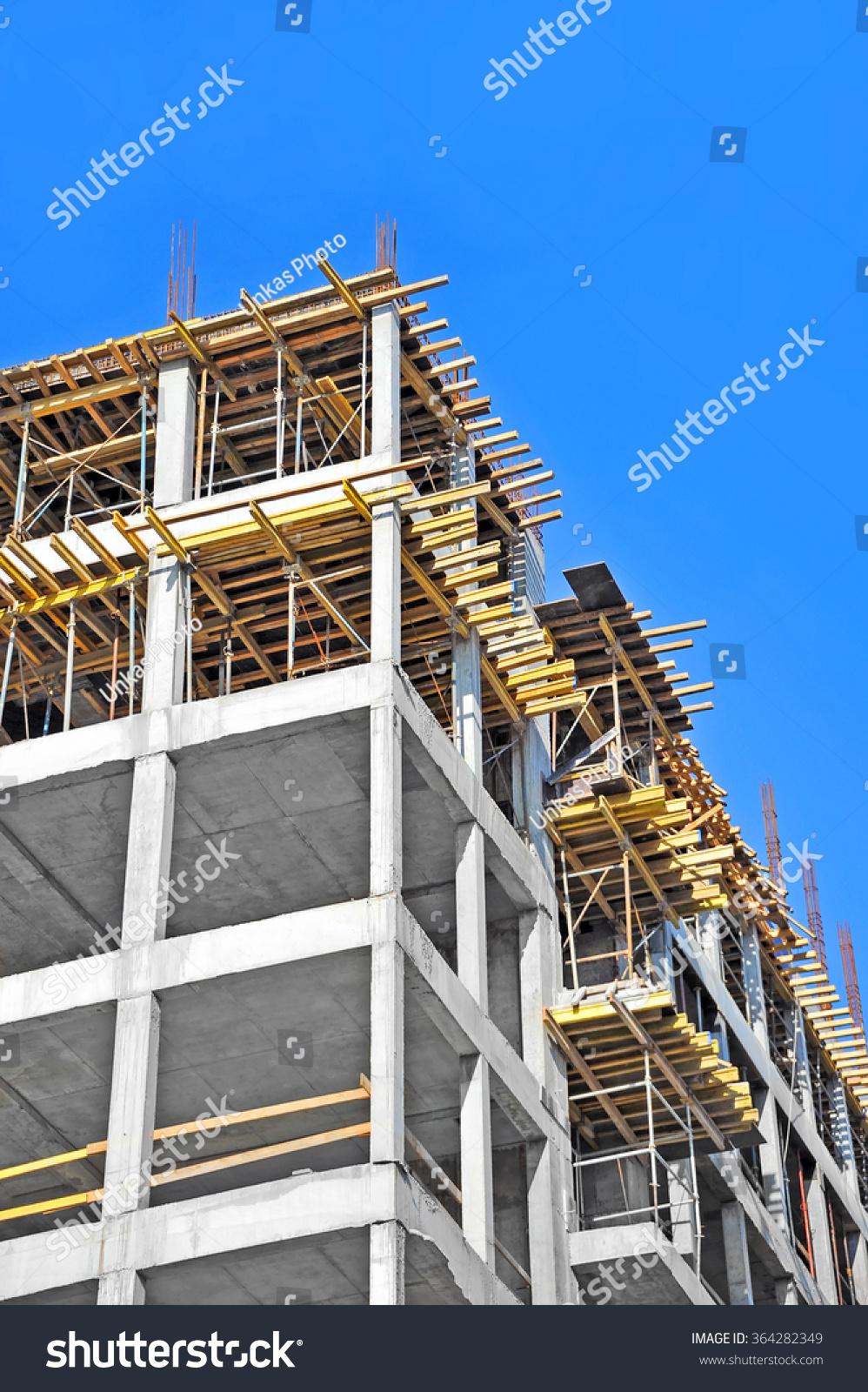 Building Construction Site : Building construction site work against blue sky stock