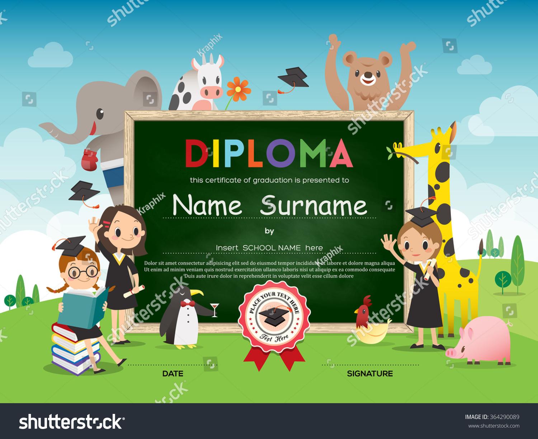 school kids diploma certificate template animal stock
