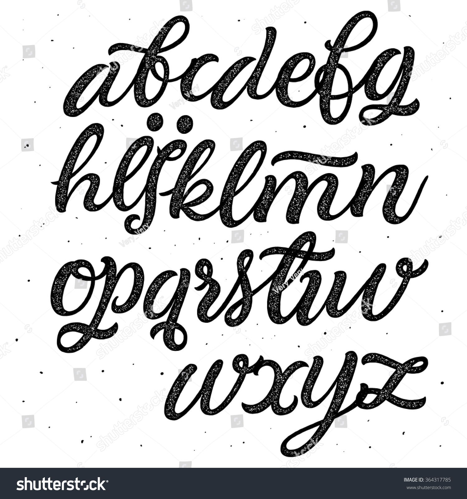 Worksheet Handwritten Alphabet vector hand drawn alphabet brush painted stock 364317785 letters handwritten script lettering and