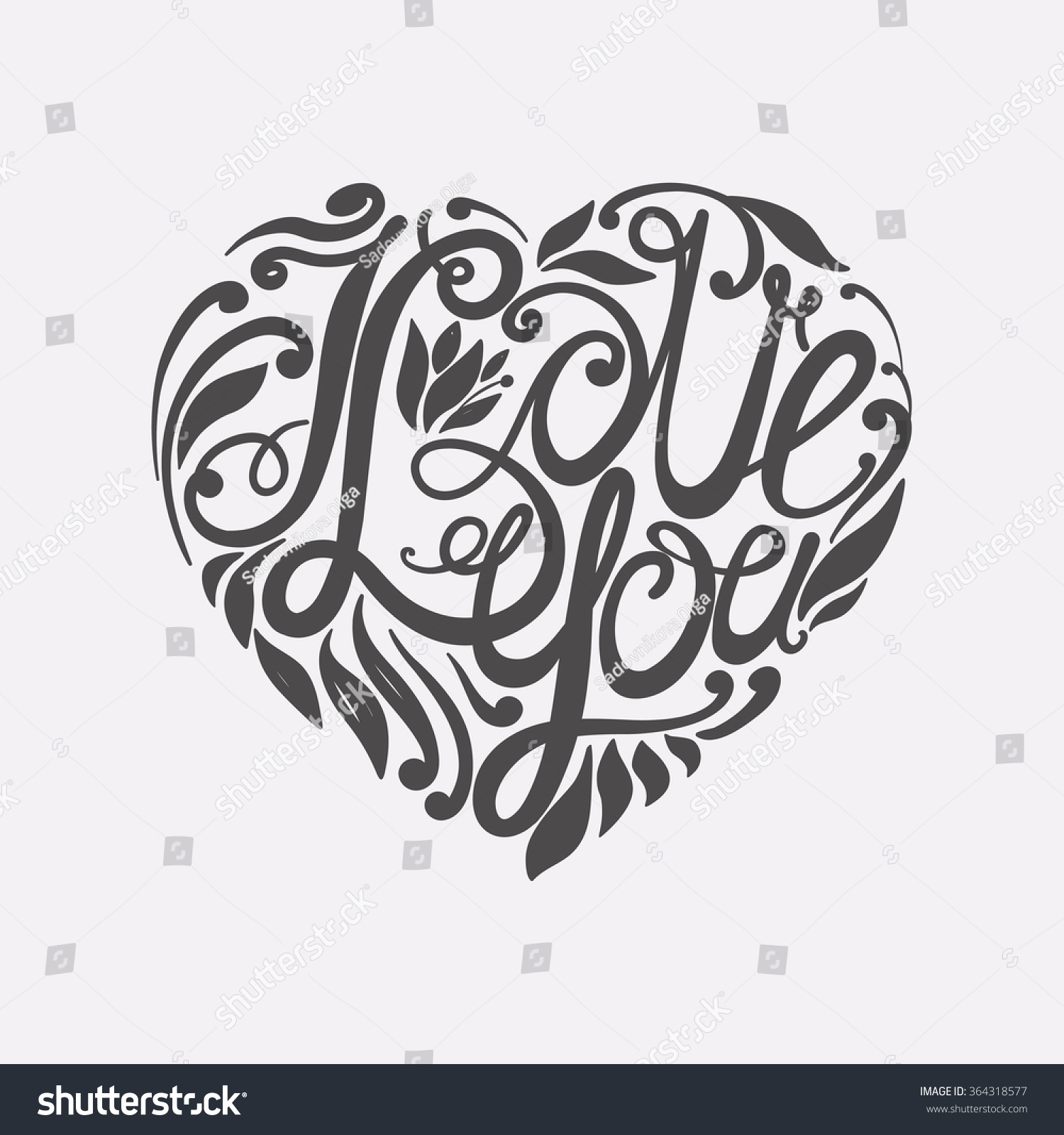 "I Love You Drawings: Design Lettering ""I Love You."" Hand Drawing, An Individual"