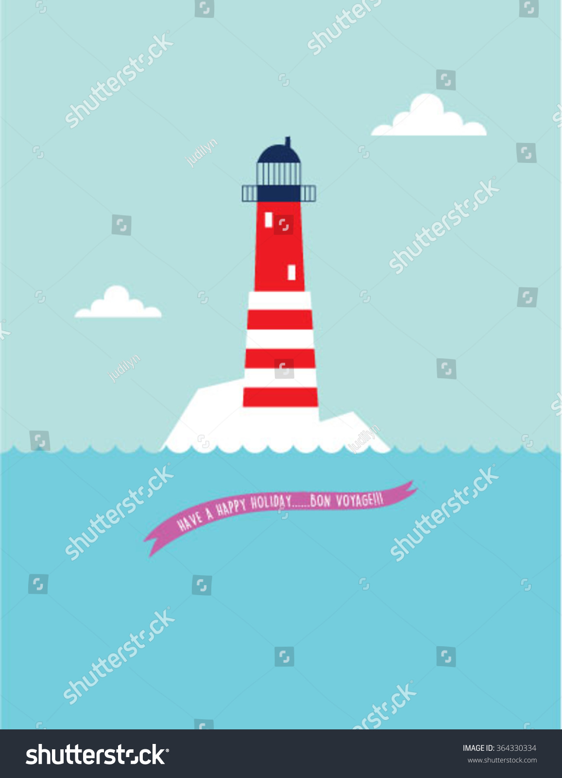 Lighthouse bon voyage greeting card vector stock vector 364330334 lighthouse bon voyage greeting card vector kristyandbryce Image collections