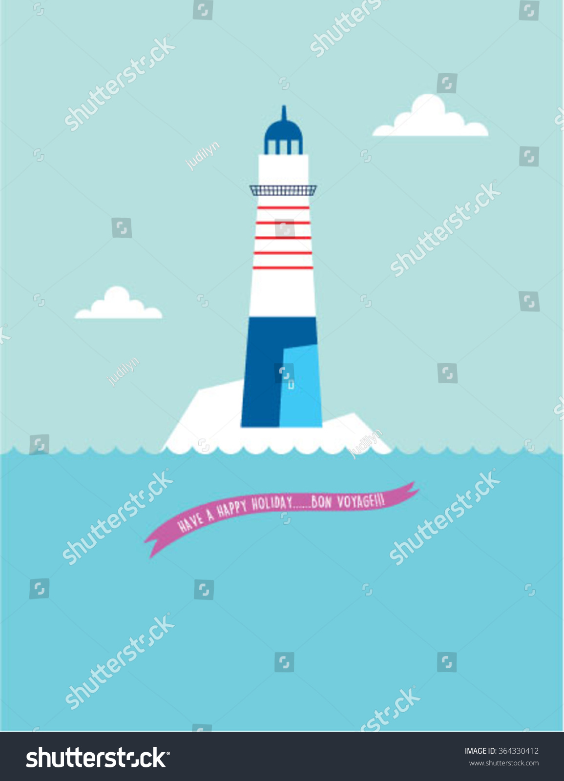 Lighthouse bon voyage greeting card vector stock vector 364330412 lighthouse bon voyage greeting card vector kristyandbryce Image collections