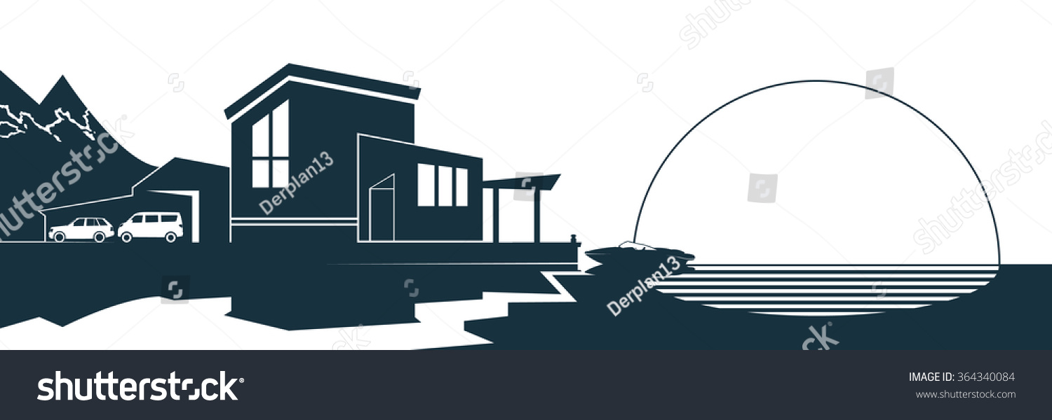 Vector image silhouette of modern residential building on a background of nature and the sea