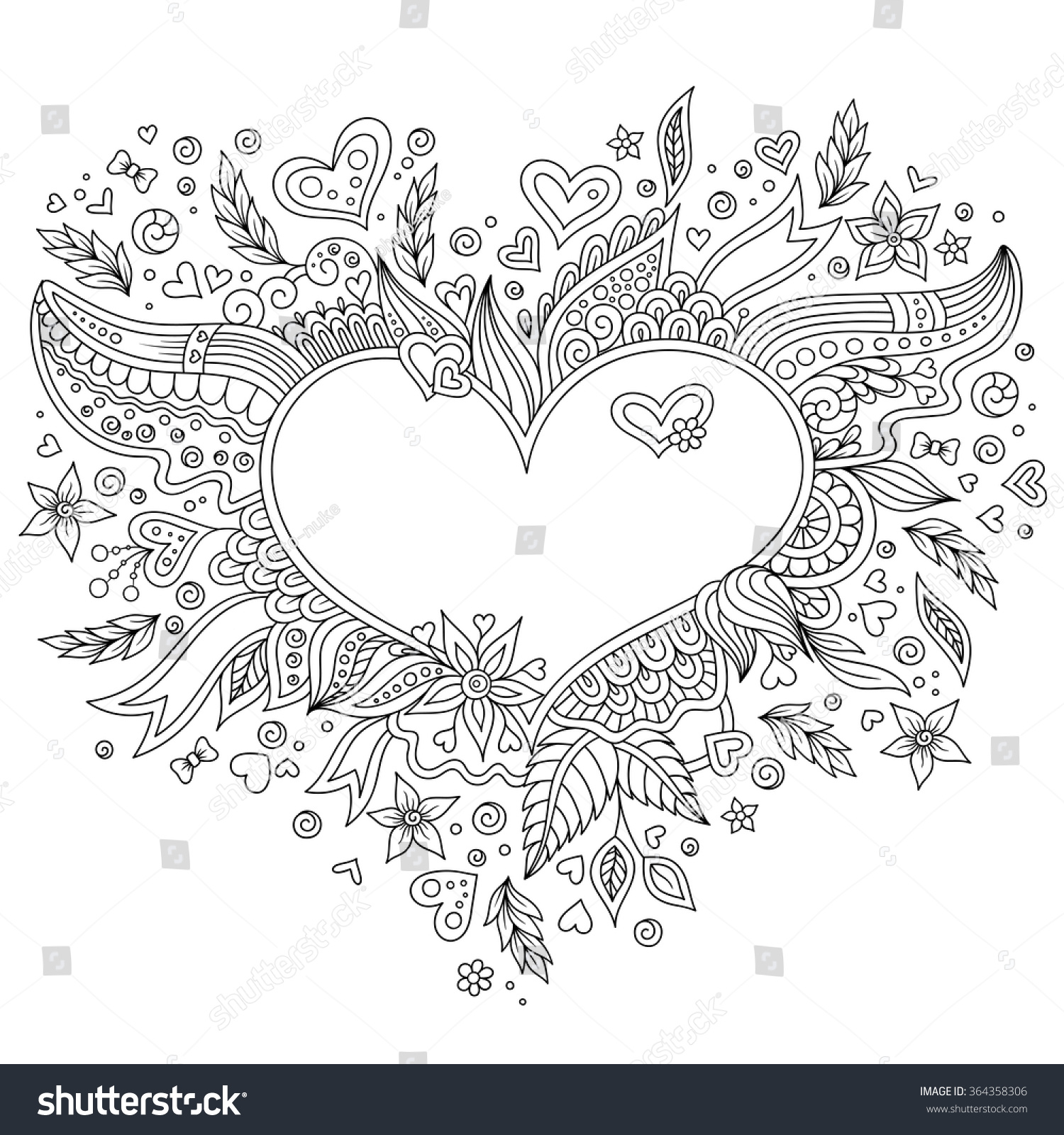 Royalty free Coloring page flower heart St Valentine…