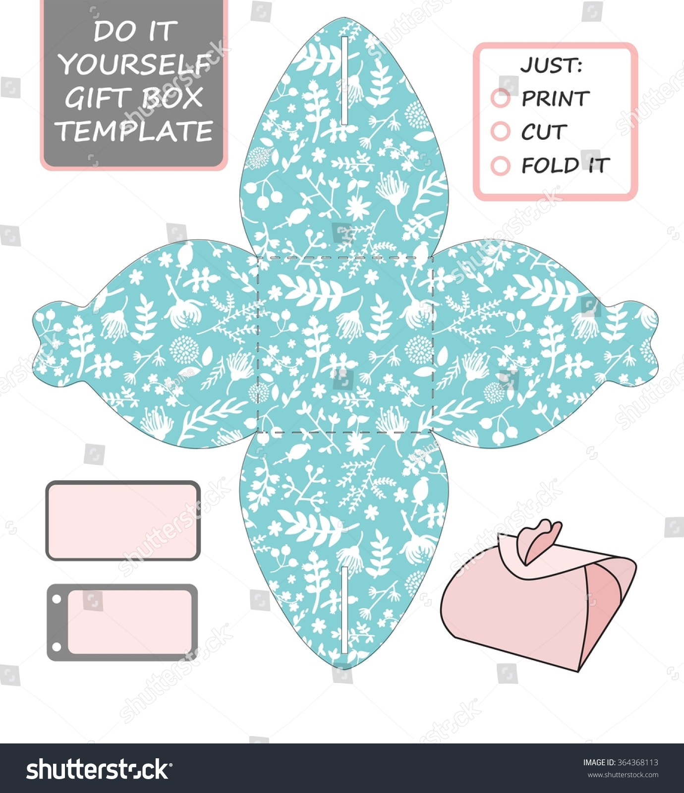 Favor gift box die cut box vectores en stock 364368113 shutterstock favor gift box die cut box template with tiffany blue and white floral pattern solutioingenieria Images