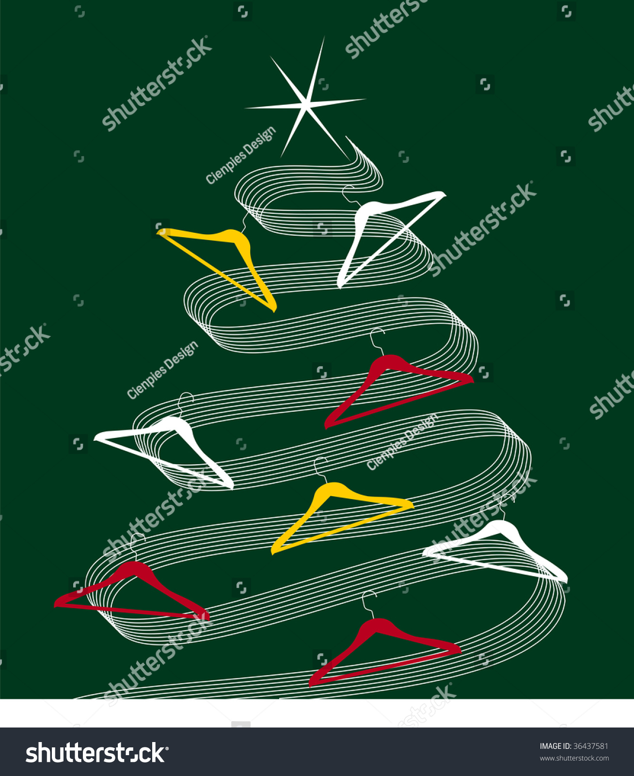Christmas tree made of white lines decorated with clothes hangers