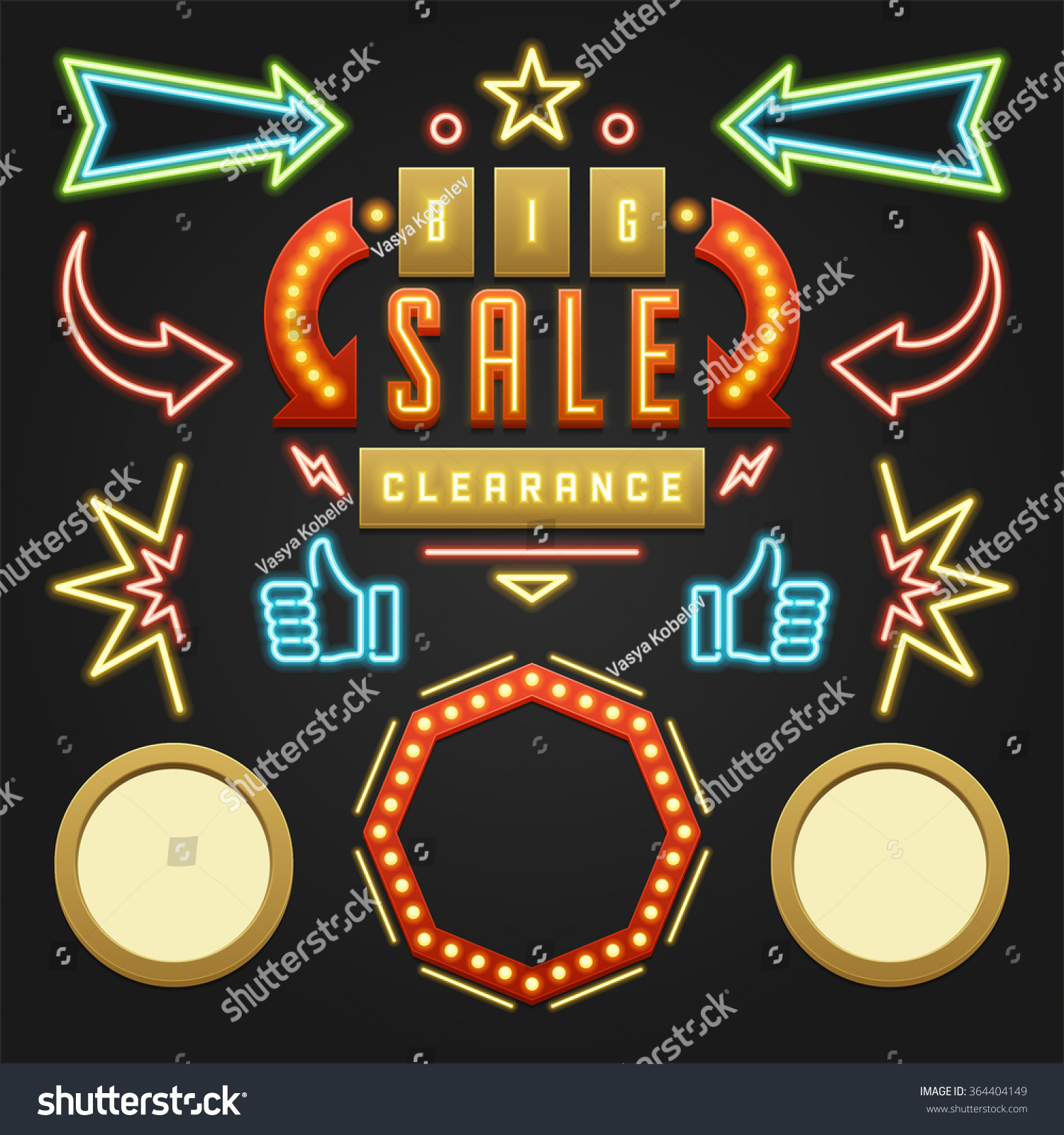 Retro showtime signs design elements set stock vector - Showtime design ...