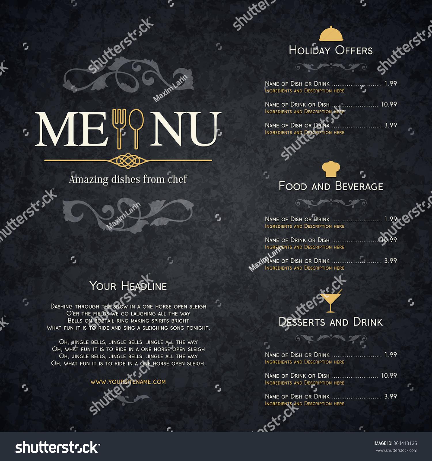 Restaurant Menu Design Vector Brochure Template Stock ...