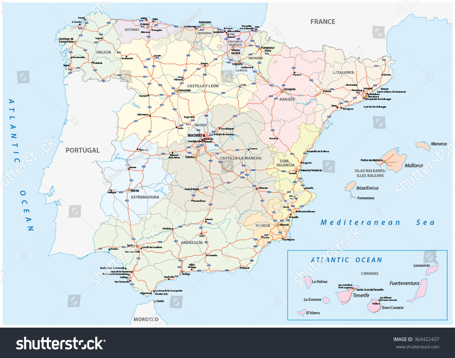 Spain Road Map Stock Vector HD Royalty Free 364422437 Shutterstock