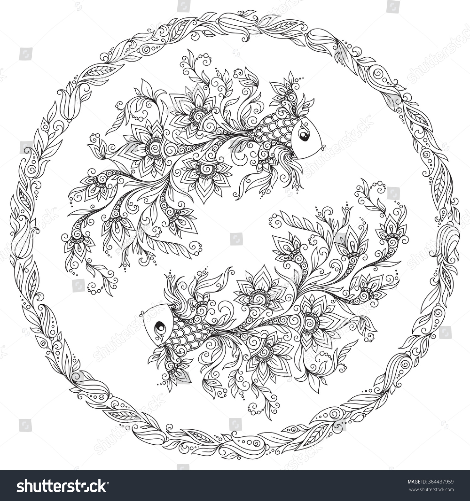 Pattern coloring book hand drawn line stock vector 364437959 hand drawn line flowers art of zodiac pisces horoscope symbol biocorpaavc Choice Image