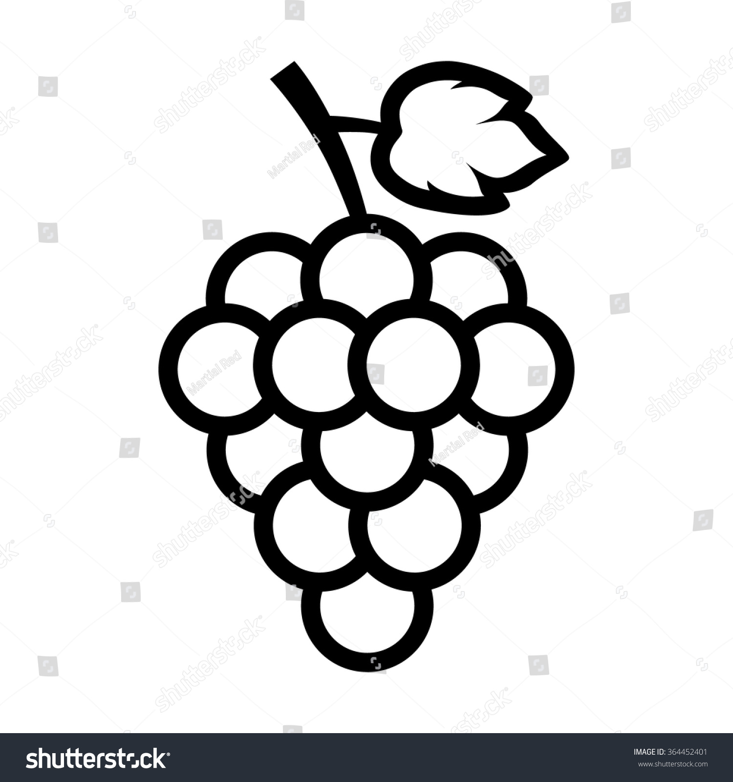 Line Drawing App : Bunch grapes leaf line art icon stock vector