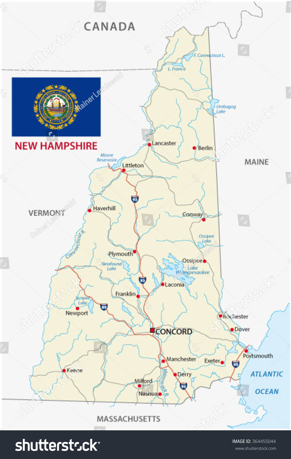 New Hampshire Road Map Flag Stock Vector 364455044 Shutterstock