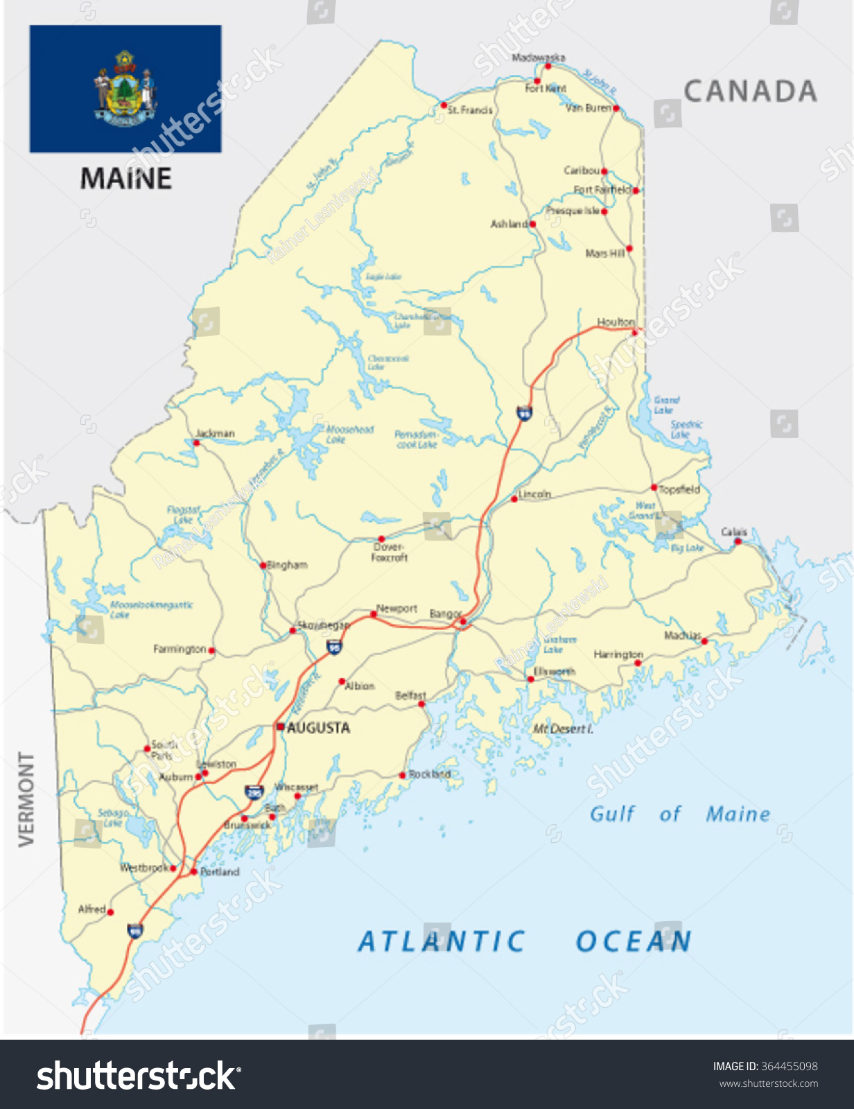 Maine Road Map Flag Stock Vector Shutterstock - Road map maine