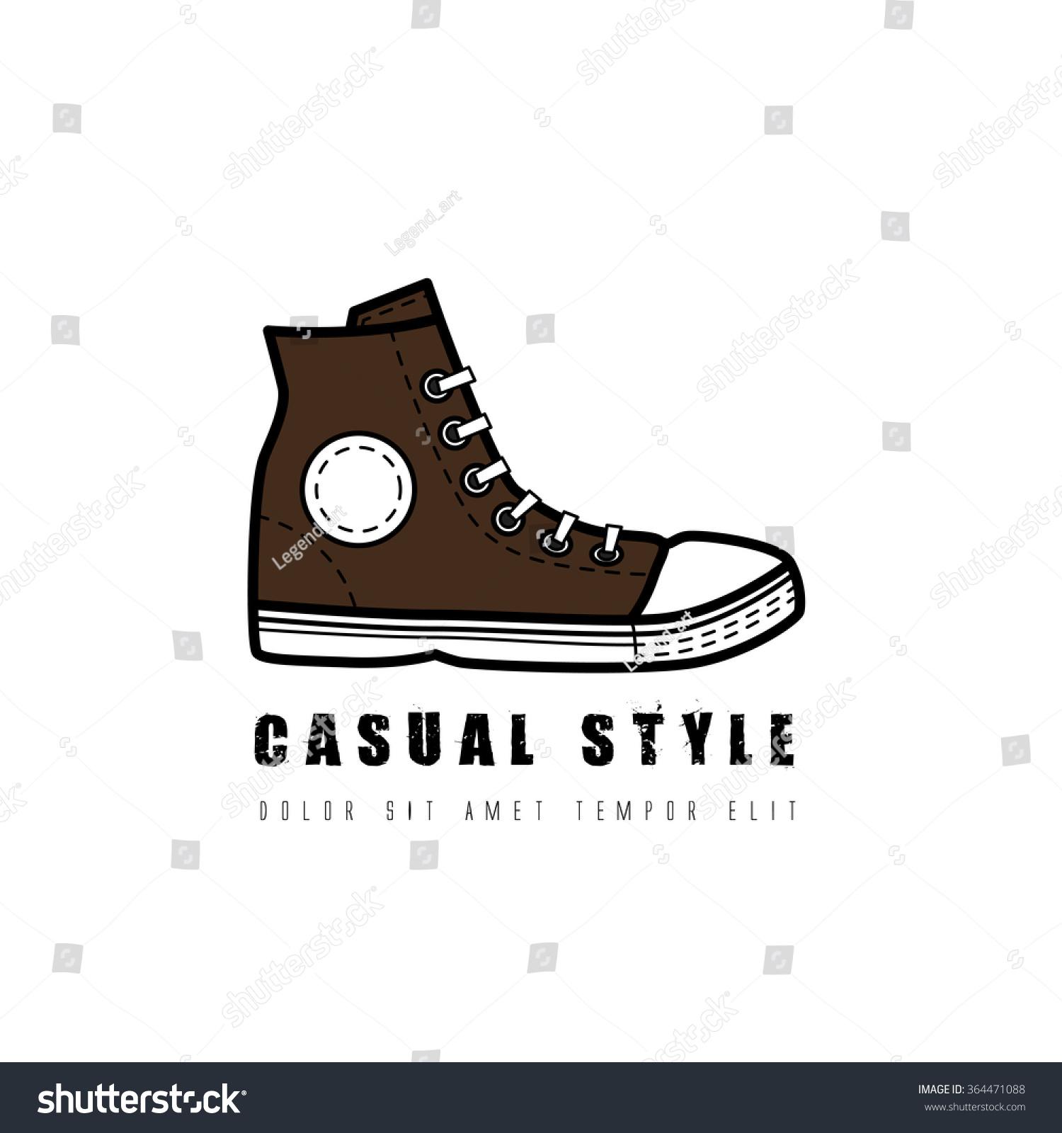 Hipster Gumshoe Logo Grunge Vector Design Stock Vector Royalty Free