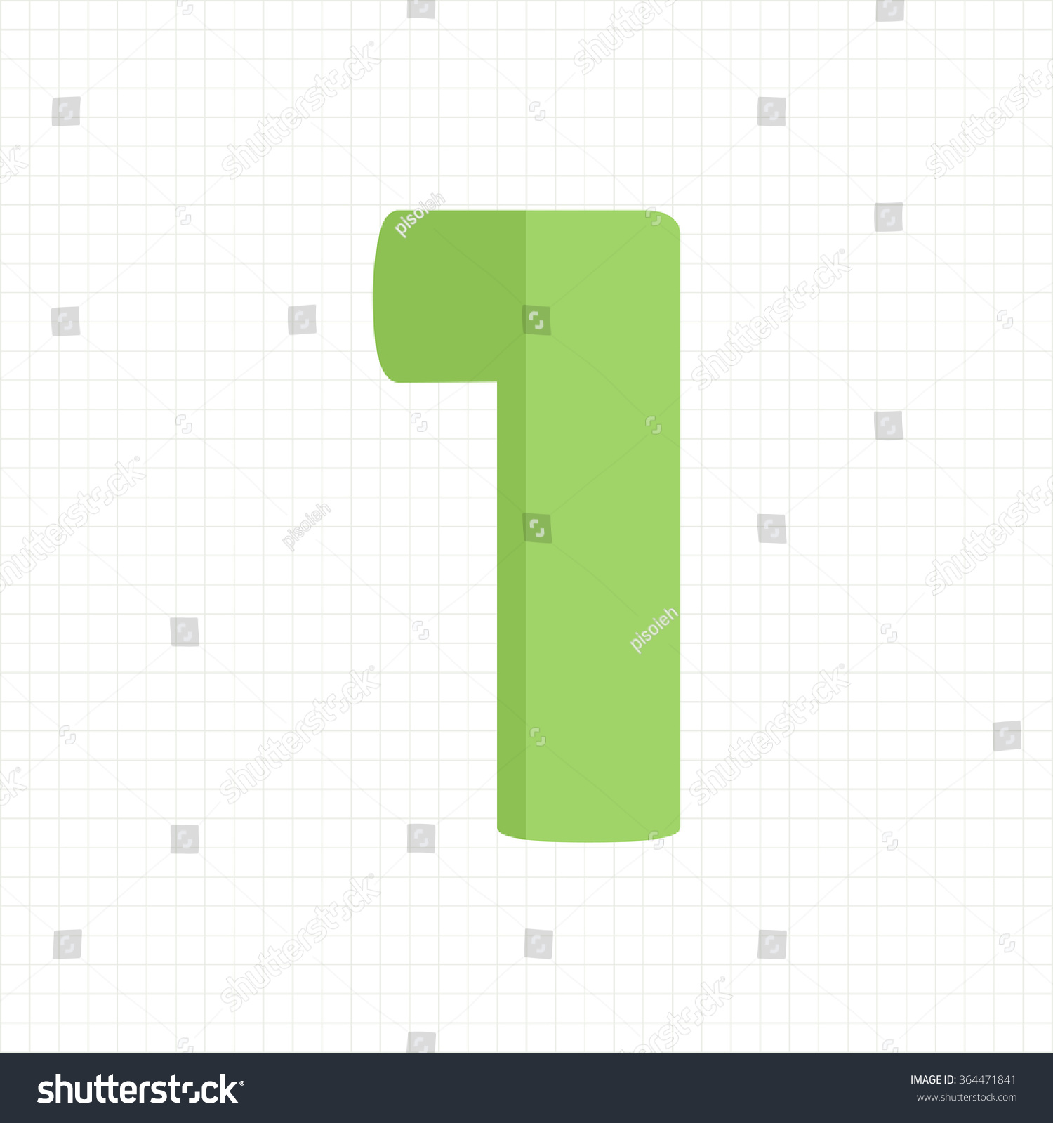 Green Color Number One Stock Vector HD (Royalty Free) 364471841 ...