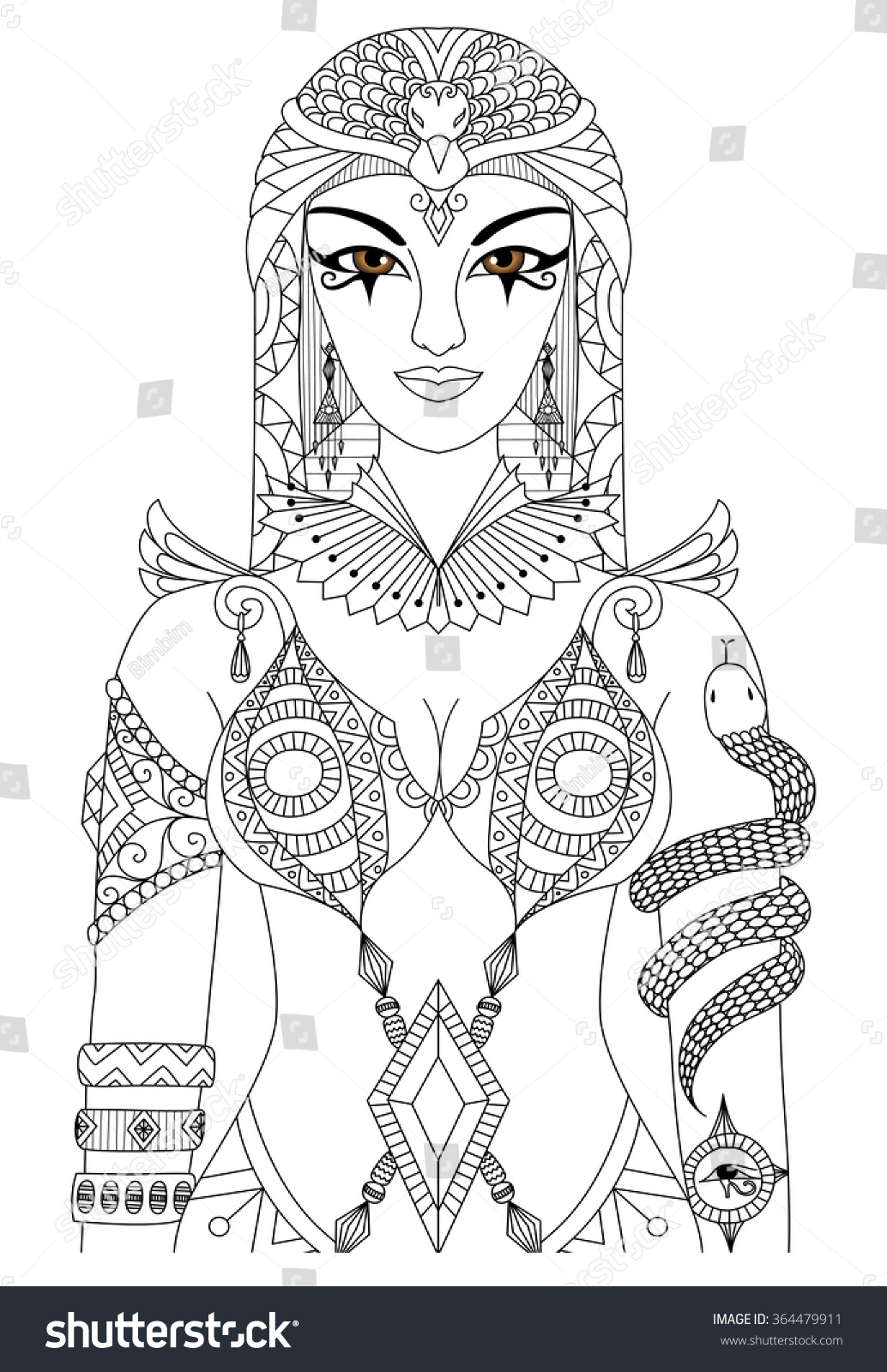 zentangle cleopatra queen egypt design coloring stock vector