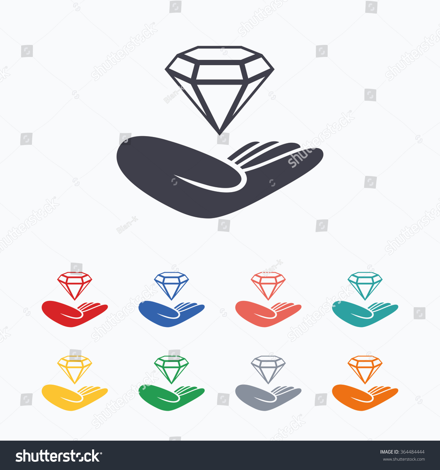 Jewelry insurance sign hand holds diamond stock vector 364484444 hand holds diamond symbol brilliant insurance colored flat icons on biocorpaavc
