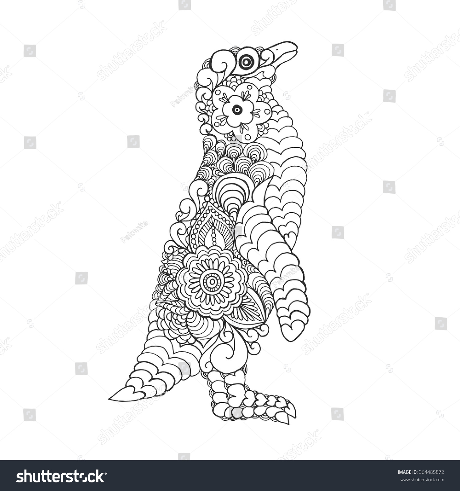 zentangle stylized cute penguin coloring stock vector