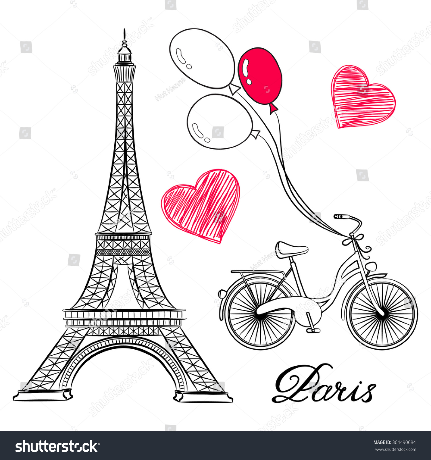 sketch of Paris Eiffel Tower and bike with air balloons Vector illustration